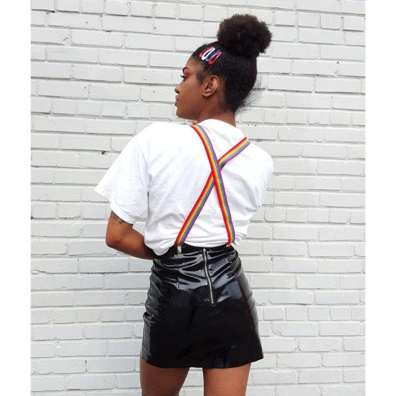 90s Vintage Rainbow Suspenders - Vtg Colorful Stripe Braces Women Clothing Accessory - Multicolor Stripes Womens Suspenders