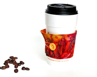 Fabric coffee cozy, coffee cup sleeve, coffee cup holder, reversible cozy, coffee to go