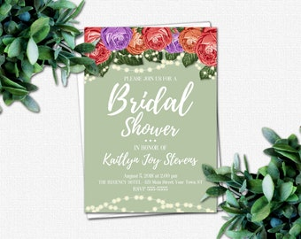 DIY Bridal Party Invitations - Wedding Shower Invitation - PRINTABLE Bridal Shower Invitations - 4 Color Choices | Roses & Sparkles Colors