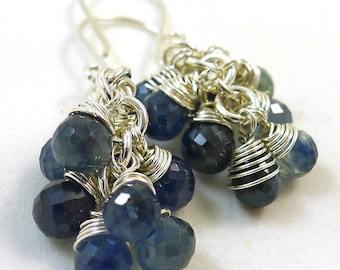 Blue Sapphire and Sterling Earrings