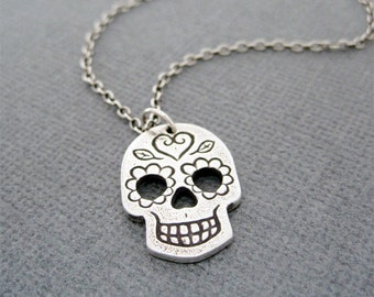Sterling SIlver Day of the Dead Skull Necklace, Sugar Skull Necklace