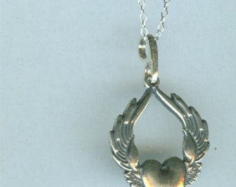 SUFI HEART Pendant and 18 Inch Chain  - Sterling Silver - Winged Heart, Flying Heart