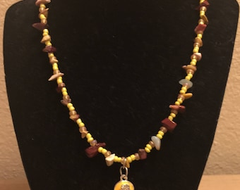 Yellow Sunshine Flip Flop Charmed Necklace, with Stone Chips Beads