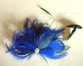 Cobalt and royal blue bridal feather fascinator - wedding feather hairclip