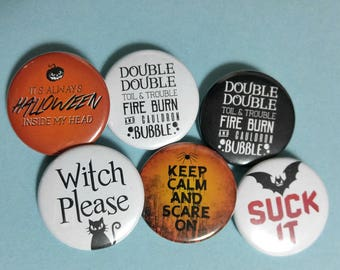 Varied Halloween Themed Buttons  | 1.5 Inch Pins, Magnets or Keychains
