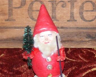 Vintage German Spun Cotton Paper  Mache Face Gnome or Pixie Elf with Chenille Trim