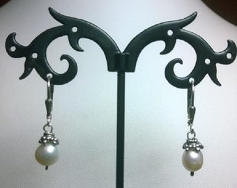 Sterling Silver Earrings with Freshwater Pearls and Sterling Silver Bead Caps