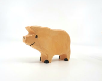Wooden Pig, Waldorf Toy, Bio Toy, Domestic Animals, Farm animal, Pig toy, Toys for Kids, Farm toy, Waldorf toy, Educative toy, Natural toys