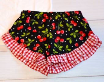 Girls and toodler ruffle Cherry shorts