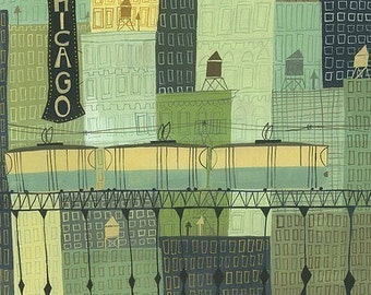 Chicago.  Limited edition print by Matte Stephens.