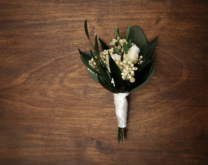 Wedding boutonniere with real ivory roses, preserved flowers eucalyptus greenery, elegant boho style, realistic flower buds