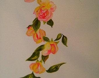 Watercolor wreath of roses