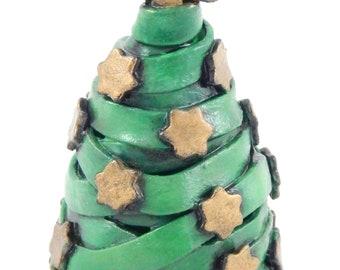 Sculpture d'arbre Noël pâte polymère vert et or