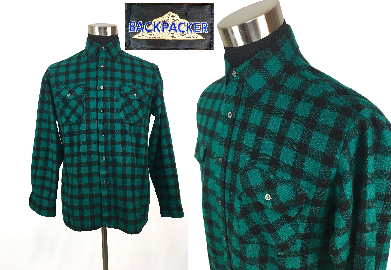 Vintage 80s Green Plaid Flannel Button-Down Shirt MEDIUM // Backpacker // Acrylic // Tartan // Lumberjack // Classic // Boyfriend // M nAxbyrh54U