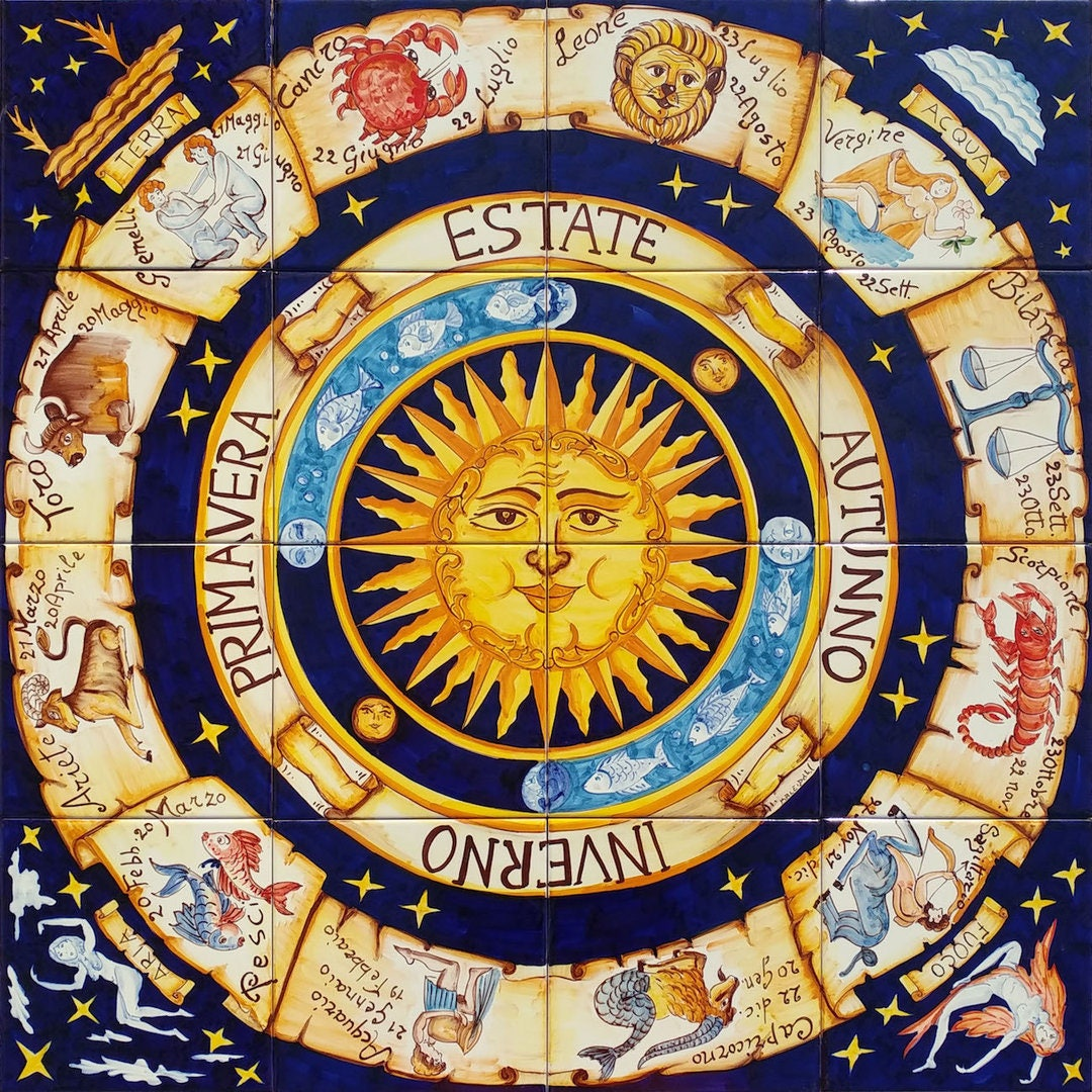 Hand Painted Zodiac signs Compass Ceramic Tiles Horoscope