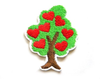 Heart Tree Embroidered Patch Appliqué
