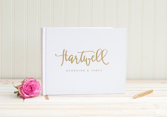 Wedding Guest Book landscape horizontal wedding book with Real Gold Foil personalized names hardcover guestbook planner instant photo booth