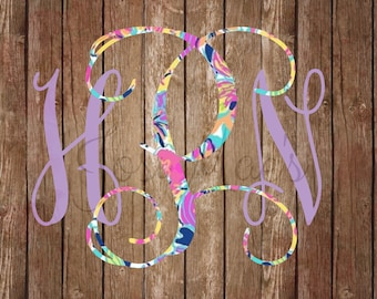 Monogram Decal - Car Monogram Decal - Monogram Sticker - Lily & Solid Color Decal