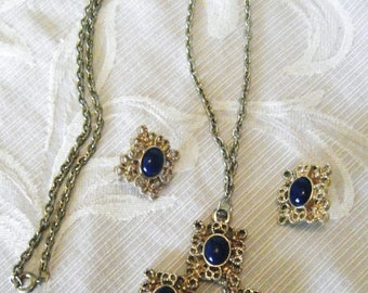 Vintage Sarah Coventry Cross Necklace and Clip on Earring Set