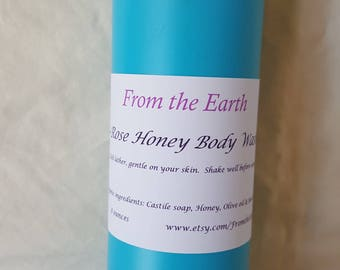 Honey Body Wash- Organic, Shower Gel, Raw Honey, Castile Soap Rich Lather, Gluten free, Adults, Kids, Soft Skin, Moisturizes, Sensitive Skin
