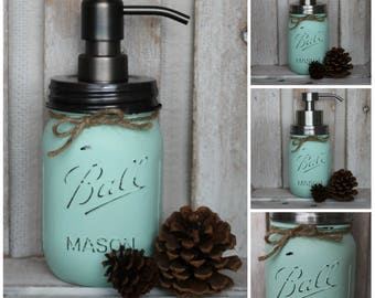 Custom Color Mason Jar Soap Dispenser - mint bathroom - shabby chic bathroom - stainless steel