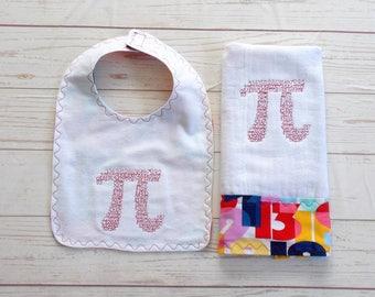 Pi Math Symbol Baby Bib & Burp Cloth Set - Math Geek Baby Gift - Nerd Baby Gift - Math Teacher Baby Gift - Numbers Bib and Burp Cloth Set