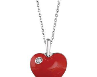Sterling Silver Red Enamel Heart Necklace