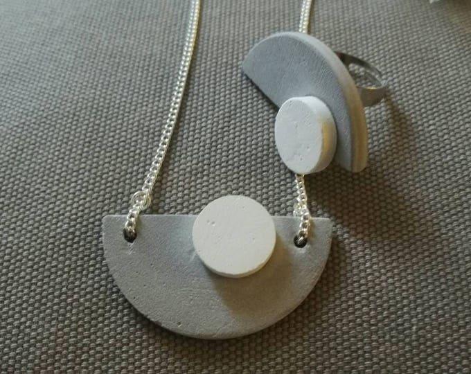 Handmade concrete pendant | concrete necklace | gift for her | gift for woman | concrete necklace | modern  jewelry | white grey concrete
