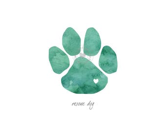 Paw Print Rescue Dog Watercolor Painting Digital Art Print Silhouette Custom Wall Decor, Home, Office, Nursery, Room Decor