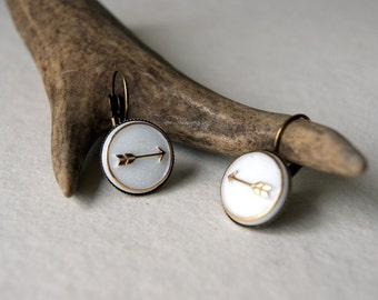 Gold and White Arrow Earrings - Arrow Earrings - vintage glass arrow cabs