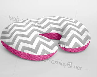 Boppy® Cover, Nursing Pillow Cover - Gray Chevron MINKY with Hot Pink MINKY Dot or MINKY Smooth - Choose Your Minky Type - BC2
