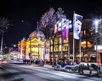 Melbourne Photograph Flinders Street Wall Decor Art Prints City Photography Poster Wedding Gift for him Travel Art FREE POST AUSTRALIA