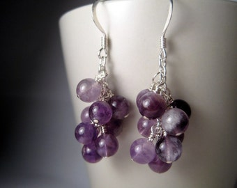 Amethyst Earrings, February Birthstone, Purple Earrings, Lilac Cluster Earrings, Lavender Birthday Gift For Her