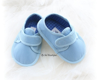 Baby Boy Canvas Shoes Blue with Velcro, Baby Boy Loafers, Birthday Gift for Baby