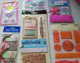 8 different stickers/embellishments for your girl scrapbooking  pages.