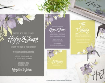 Printable Wedding Invitation Suite - Purple, yellow, grey Watercolor Floral - Customizable Wedding Invites - DIY Wedding Invitation Set