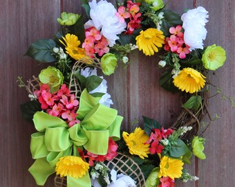 Mothers Day Wreath, Spring Grapevine Wreath, Gerbera Daisy Wreath, Welcome Wreath, Large Front Door Wreath, Housewarming Gift
