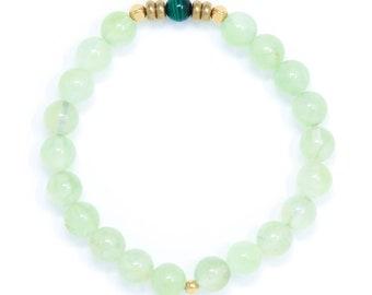 Buddhist Mala Bracelet, Meditation Bracelet, Tibetan Jewelry, Prehnite & Malachite – Deepening Meditation, Spiritual Growth, Purifying Life