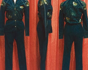Roberto Cavelli 80's Hand Painted Suede Jumpsuit