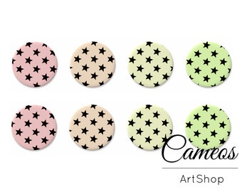 8 pcs Cabochon 10mm, 12mm, 14mm or 18mm, handmade cabos, Flatback Cabochon, black star pattern, photo glass cabochon, pastel color - C1146