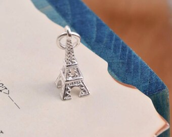 2 pcs sterling silver eiffel tower charm pendant