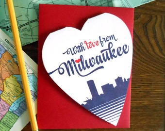 with love from milwaukee, wisconsin heart shaped greeting card everyday miss you love you