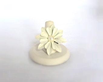 White Tin Flower Filigree Adjustable Ring