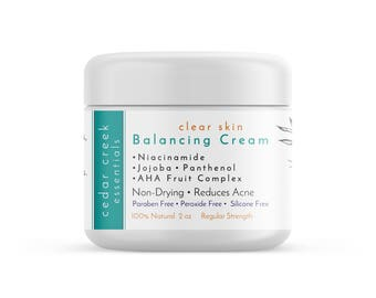 Clear Skin - Balancing Cream, Acne Treatment, Moisturizer, Anti-Aging, Anti-Acne, Natural Skincare, Organic Skincare, Vegan Skincare