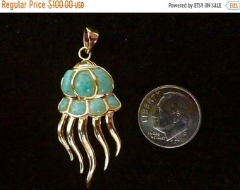 "MEMORIAL DAY SALE Original Dominican Larimar ""Octopus"" Pendant Handmade Sterling Silver/14K Yellow Gold Plated Setting Free Shipping"