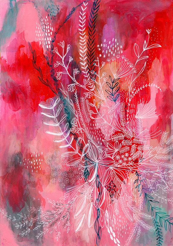 Pink and Red Botanical Patterns Archival Wall Art Print