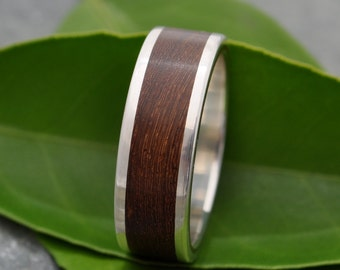 Size 14 READY TO SHIP Lados Nacascolo Wood Ring - recycled sterling silver and sustainable wood wedding band