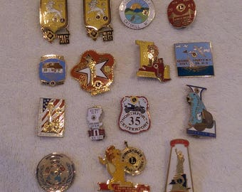 New York Lions Club Pins - Lot of 15