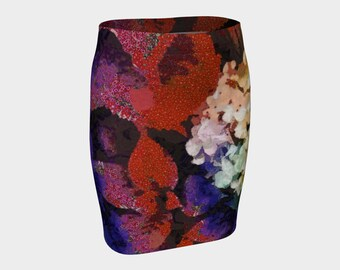 Fitted Skirt Pencil Skirt Floral Rainbow Colorful Skirt Romantic Clothes Feminine Skirts Women Sexy skirt Clothes for Her Flower Print Skirt