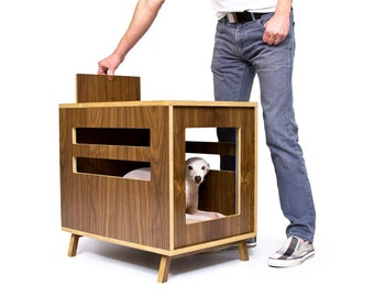 """Mid Century Modern Dog Crate Furniture   Wooden Dog House   Fleece Lounge Pad   MCM Walnut Side Table   """"Dwell Dog Crate"""""""